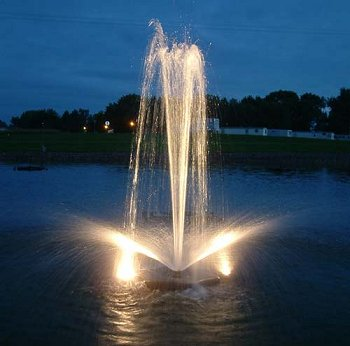 lighted pond fountain